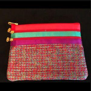 NWOT Jim Thompson Thai Silk Cosmetic Bag, red